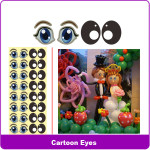 sticker sheet 5 cartoon eyes B602B
