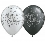 black silver happy birthday rounds
