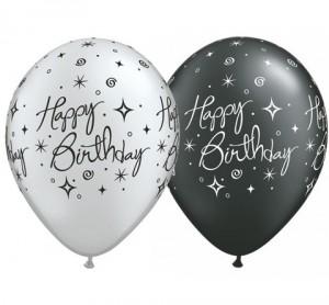 black silver happy birthday rounds