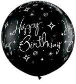 3ft black and 30in silver Bday Sparkles n Swirls a round
