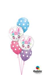 bunnies face polka dots
